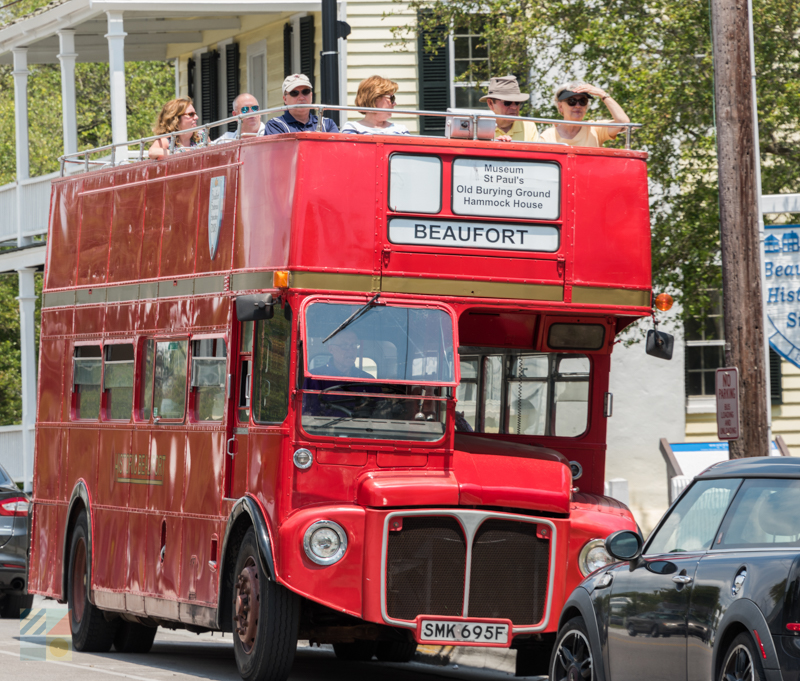 Beaufort Historic Site features a double decker bus tour