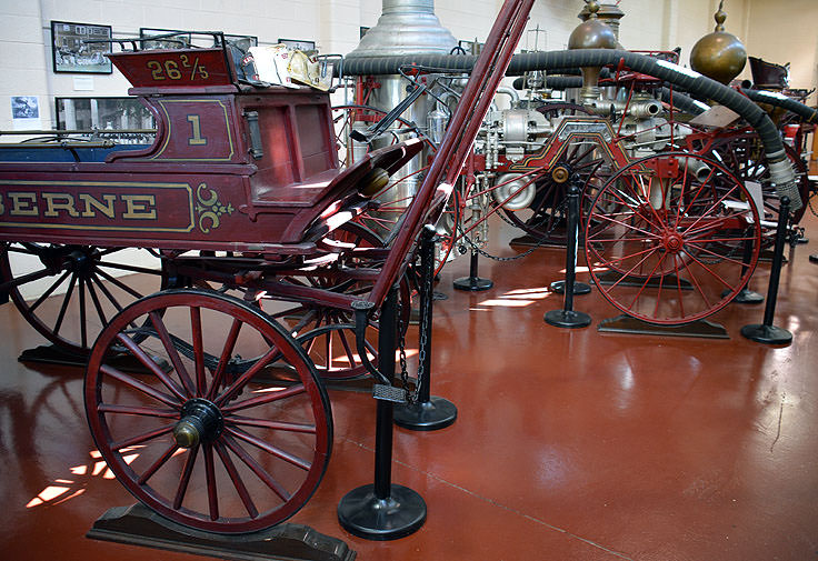 Antique fire wagons at the New Bern Firemans Museum