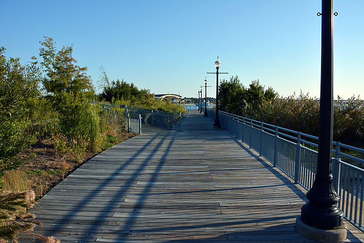 A wooden boardwalk at Union Point Park in New Bern, NC
