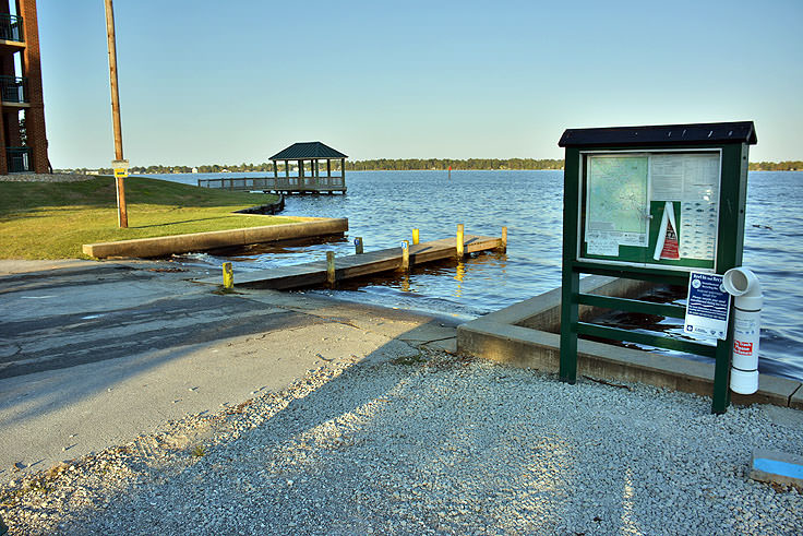 A small boat ramp at Union Point Park in New Bern, NC