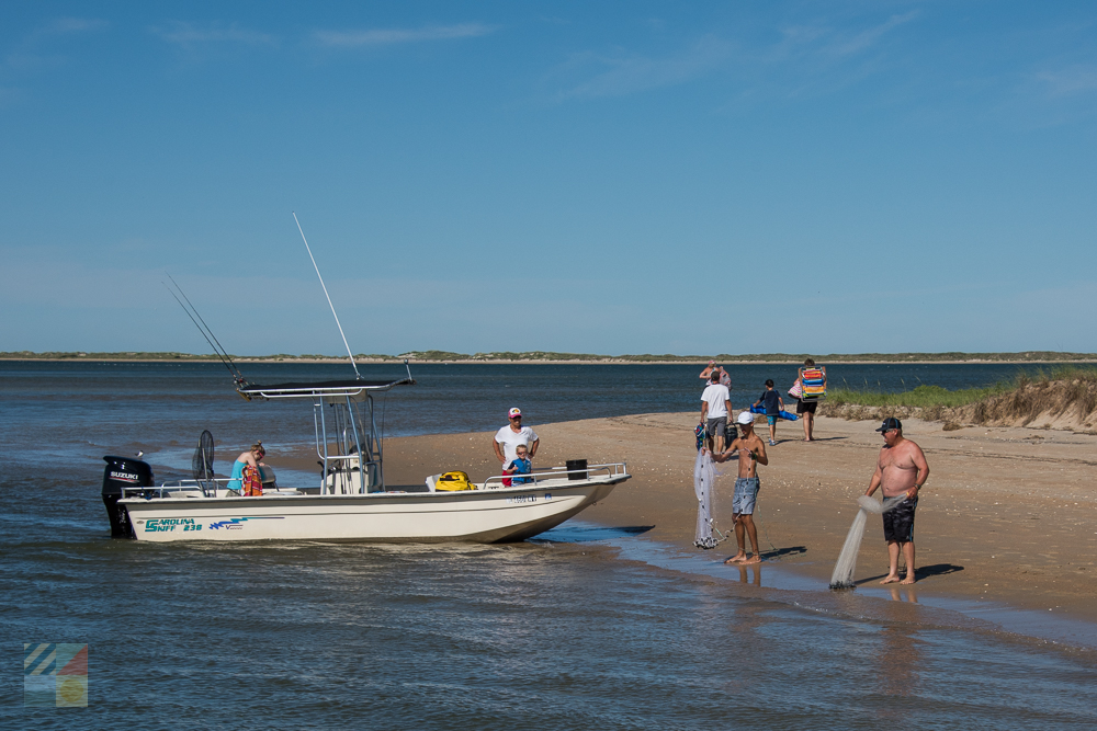 A private boat lands on Cape Lookout National Seashore