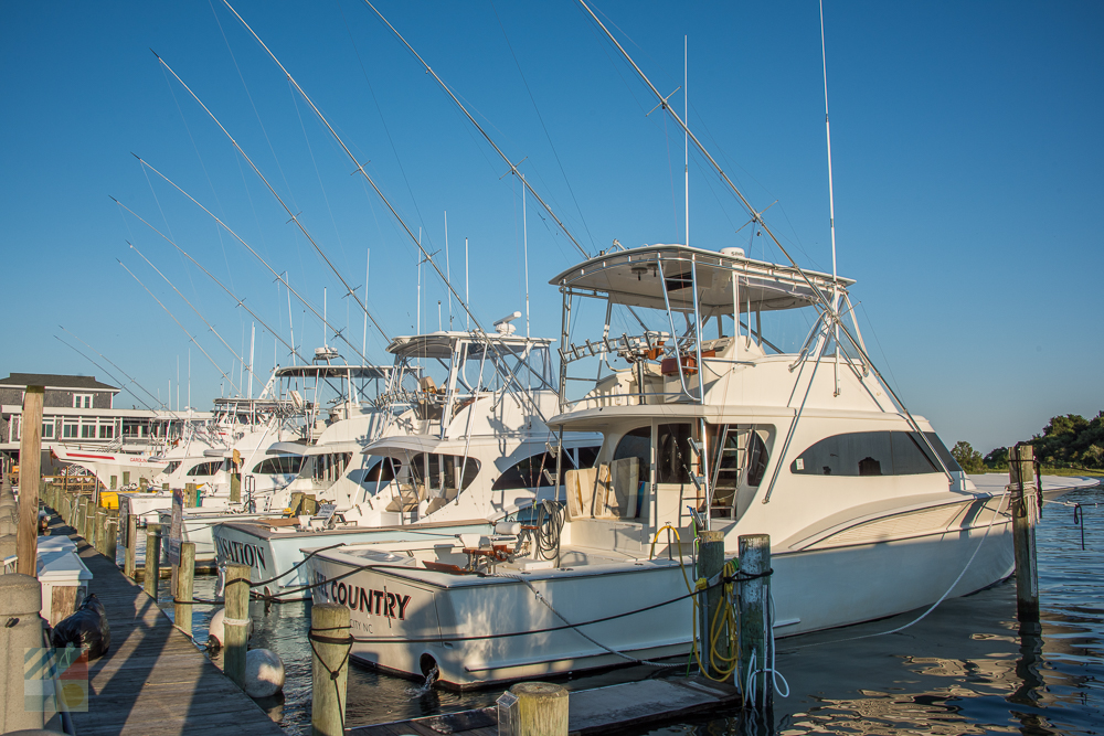 Fishing boats lined up in downtown Morehead City